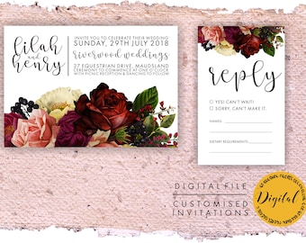 Printable wedding invitation - DIY printing - Digital file. Plum and Red