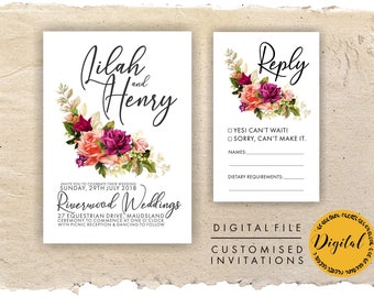 Spring wedding invitations- Pink flowers - DIY printing - Digital file.