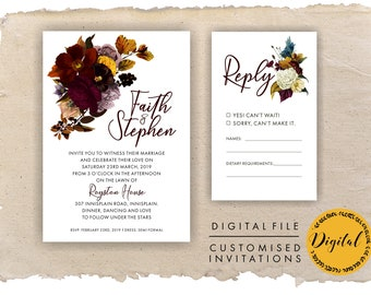 Winter wedding invitations- Autumn - DIY printing - Digital file.