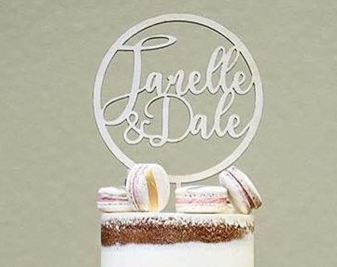 Rustic Wood Cake topper -Customised Bride and Groom Cake Topper - Glitter cake topper