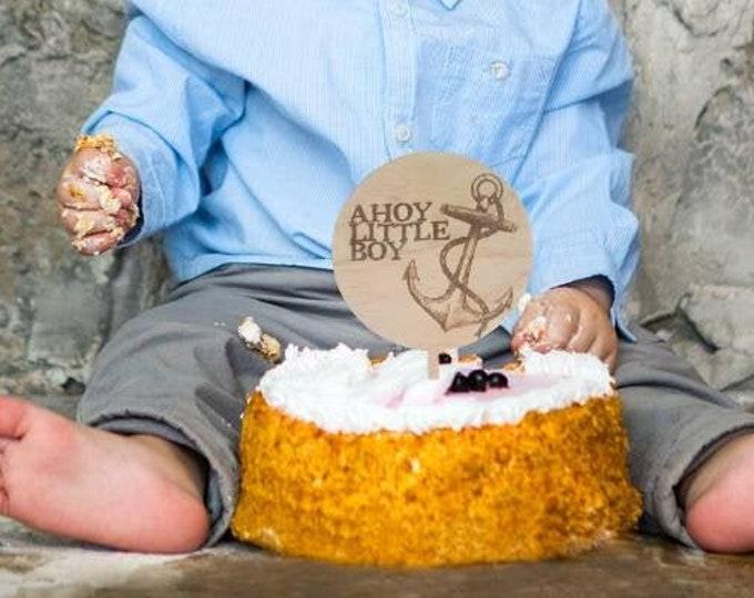 Baby Boy cake topper. Ahoy little boy. Baby shower cake topper. Wood cake topper.