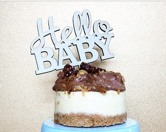 Baby Shower cake topper. Hello Baby. Wood cake topper. Acrylic cake topper