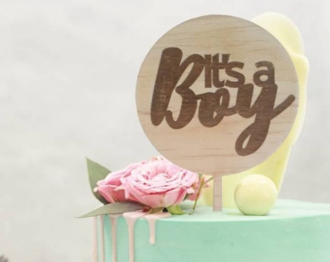 Baby Boy cake topper. Baby shower cake topper. Acrylic or wood cake topper.