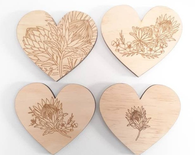 Protea Wall Art - Heart Art - Protea Heart - Wood