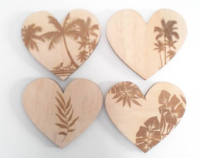 Coastal Wall Art - Heart Art - Palms Heart - Wood