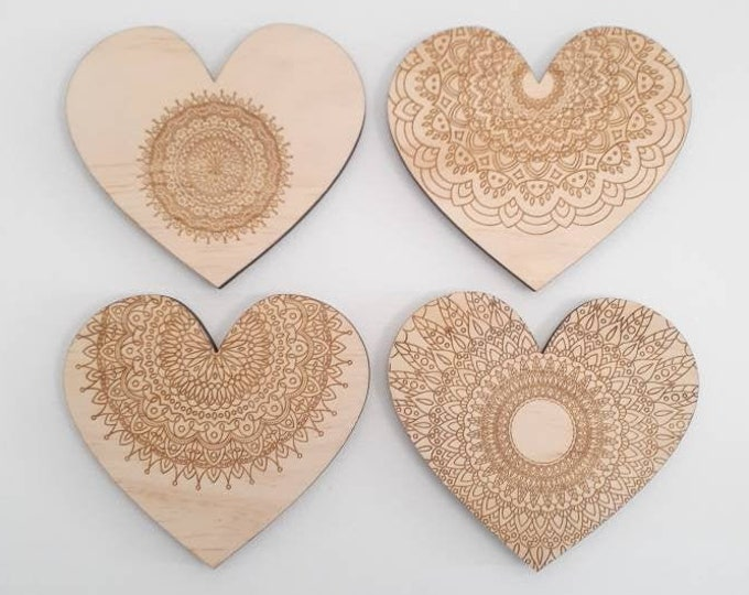 Mandala Wall Art - Heart Art - Mandala Heart - Wood