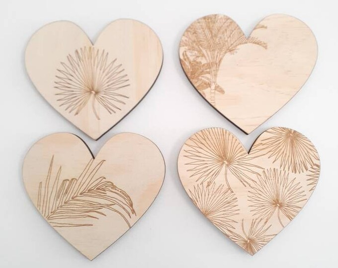 Coastal Wall Art - Heart Art - Tropical Botanica Heart - Wood