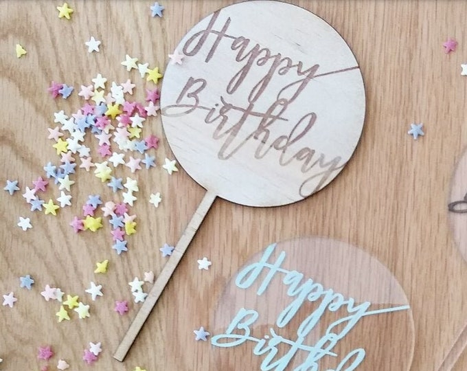 Happy Birthday cake topper. Wood cake topper. Birthday cake topper.
