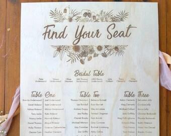 Wedding Seating Plan. Floral Botanical Large Wedding Signs. Laser engraved wedding signs.