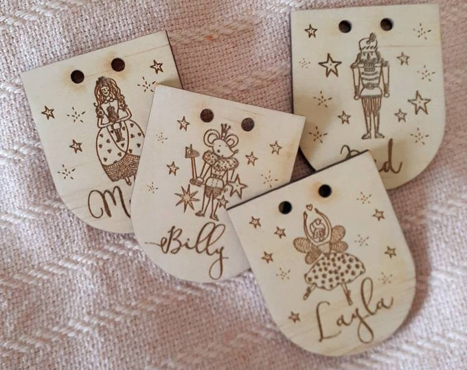 Christmas Stocking labels. Wood Tags. Gift Tags