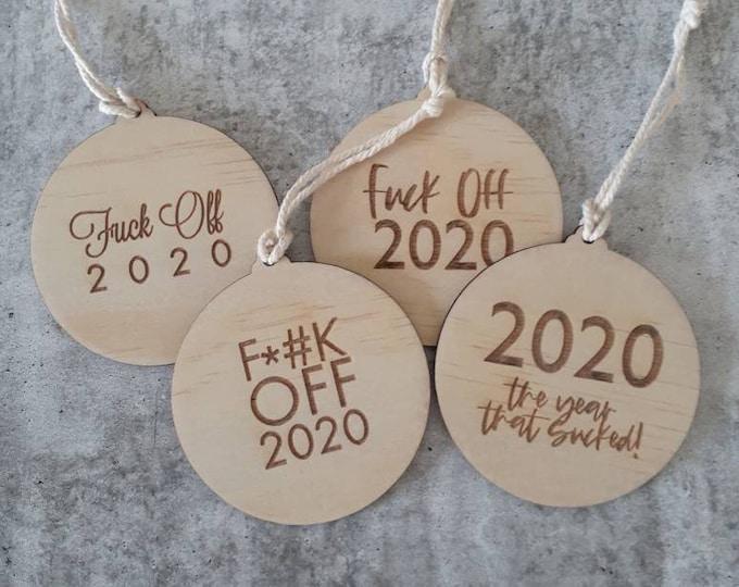 2020 Christmas ornaments. Wood Christmas bauble.