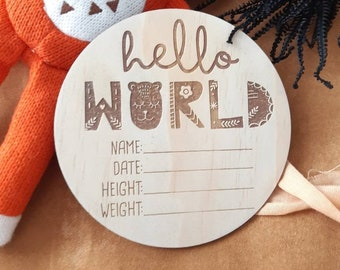 Birth announcement photo prop. Wood birth details disc. Little Mister