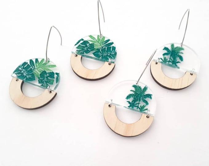 Tropical Earrings - Acrylic earrings - Green Earrings - Palm Trees