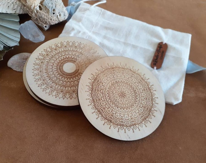 Wood Coaster Set - Mothers Day Gifts - Mandala