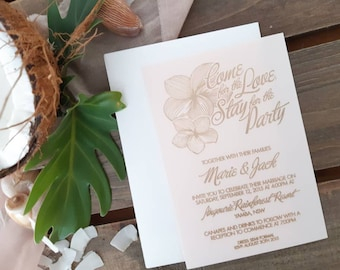 Frangipani wedding stationery - Coastal Designs - Linen Paper - Pack of 10