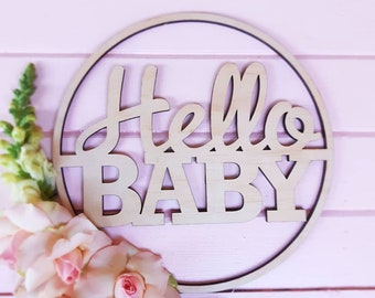 Hello Baby Sign. Baby Shower wood sign
