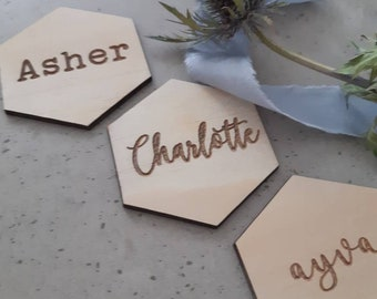 Hexagon Place cards- Wood place cards. guest names - place settings