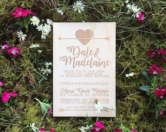 Wood wedding invitation - Timber wedding invitation - Arrow & Heart Designs - Pack of 10