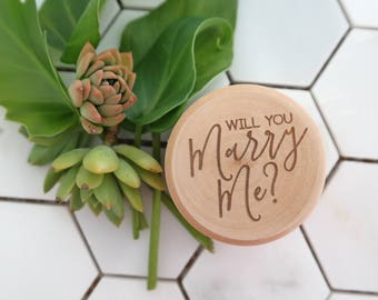 Proposal Ring Box - Wooden engraved ring box