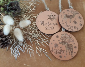 Copper Personalised Christmas decorations. Nordic Christmas baubles.