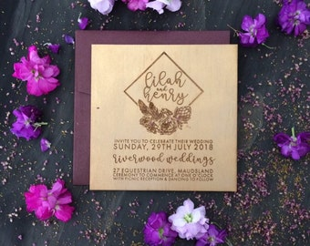 Boho wedding invitation. Gold Wedding invite. Laser engraved wood wedding invitation. 10 pack