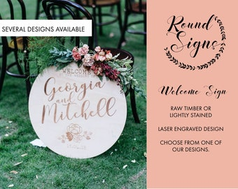 Wedding Sign - Wooden Round Welcome Sign