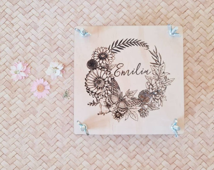 Flower Press - Square floral wreath- Customised Flower Press - Small - Gift