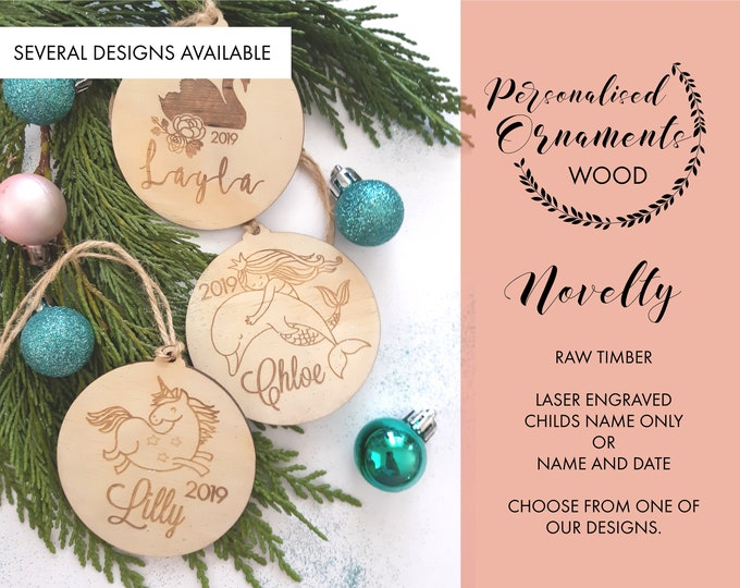 Personalised Christmas ornaments. Novelty Christmas baubles.