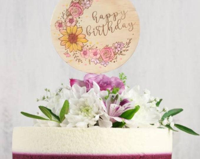 Happy Birthday Cake topper. Wood cake topper