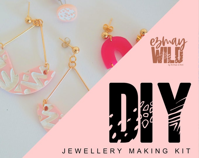 DIY Jewellery making kit. Acrylic Earrings - white