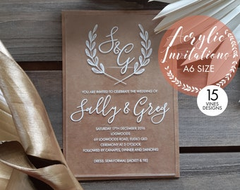 Acrylic invitations, laser engraved acrylic stationery. A6. Set of 10