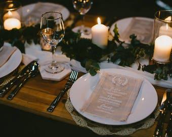 Acrylic menus. Clear acrylic Wedding Menus. Olive leaf motif