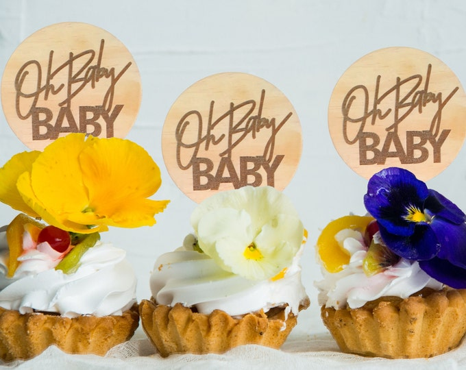 Oh Baby Baby Cupcake toppers. Baby Shower Cake toppers