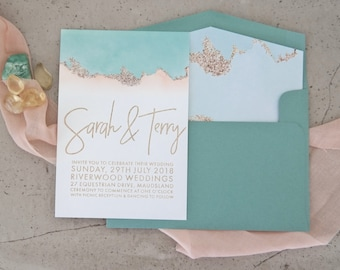 Wedding invitation. Engraved paper invitation. Aqua watercolour and gold glitter - Pack of 10