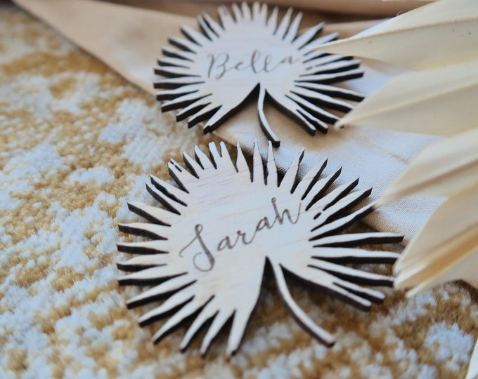 The Palms - Palm Leaf Wood Place Card