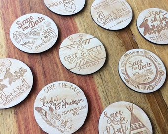 Save the date magnets. 10 pieces. Wooden magnets. Rustic. Wood etched - Tribal Boho Designs