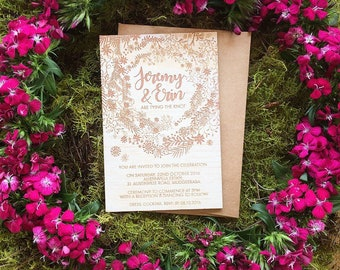Wedding Invitation - Timber wedding invitation - Vines Design - Pack of 10