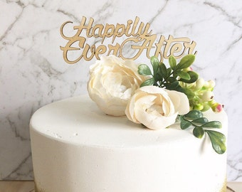 Rustic Cake topper -Happily Ever After - Wedding Cake Topper - Raw Wood