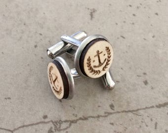 Wooden Cufflinks - Timber cufflinks - Laser engraved cufflinks
