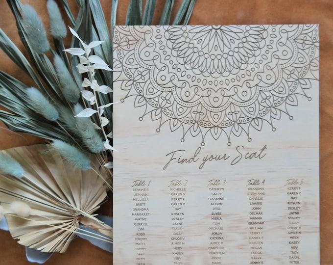 Mandala Seating Chart. Wood Wedding Seating Chart.