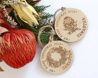 My First Christmas bauble. First Christmas Gift. Australian Natives