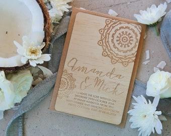 Wood Wedding invitation, mandala design.  Laser Etched Wooden Invitation. A6 size