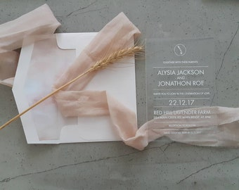 Acrylic Wedding Invitation, laser engraved acrylic stationery. Lavender Blush Pack of 10.