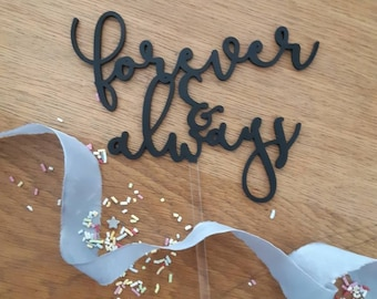 Rustic Wood Cake topper -Forever and Always - Glitter Cake Topper