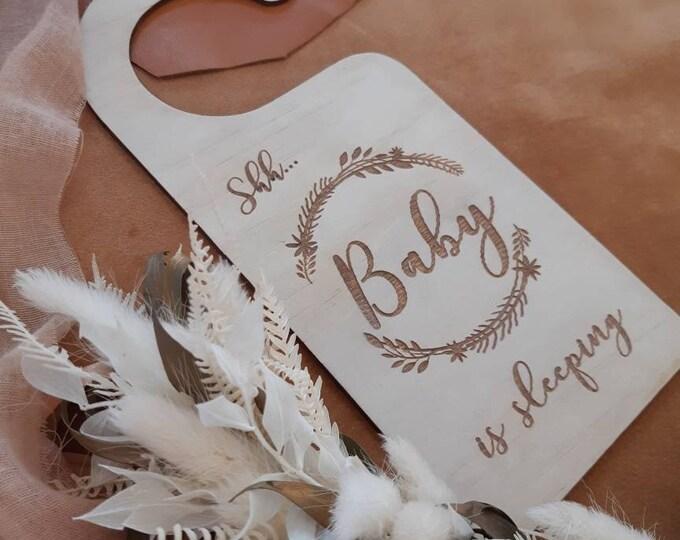 Baby is sleeping - customised - Door hanger - wreath