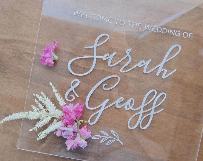 Acrylic Welcome sign. Acrylic wedding sign