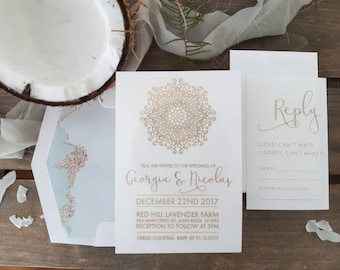 Beach Wedding stationery suite - Mandala Linen Paper - Pack of 10
