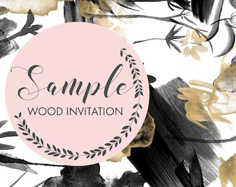 Wood wedding invitation - Sample only.