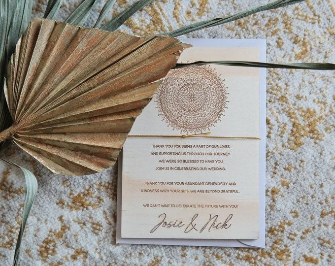Thank You cards - Mandala wood thank yous - Set of 10