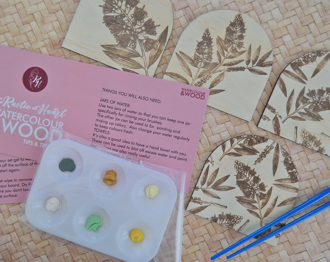 DIY Painting Kit - Paint your own Wooden Coaster Set - Natives - Yellow